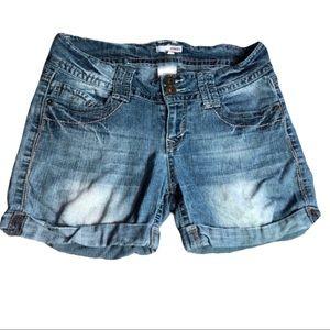 Bongo Distressed Juniors Cuffed Denim Shorts